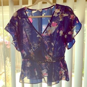 Tops - Blue /Multicolor Floral Ruffle Blouse